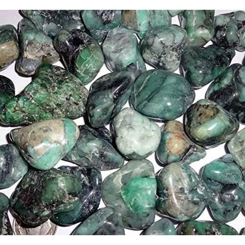 Sublime Gifts 5pc Green Emerald – AA Grade Tumbled & Hand Polished Natural Wicca and Reiki Healing Crystal Gemstone with Beautiful Color Markings Collectible Display or Wrapping Stones