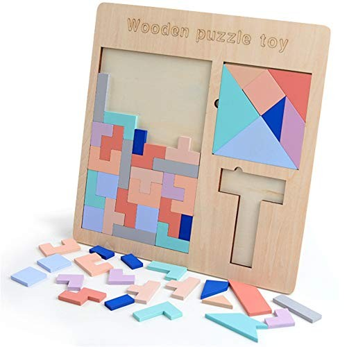 Techecho Magnetic Building Blocks Wood Matching Jigsaw T Word Square Colorful Board Brain Intelligence Geometric Leaning Toys Wooden Puzzle Tangram Childrens for Boys and Girls