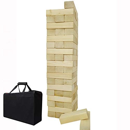 Giant Wooden Toppling Tumbling Timbers Tower with Storage Bag Jumbo Huge Blocks Stacking Lawn Yard Games for Family Backyard Fun