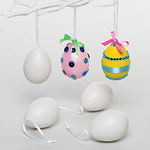 Baker Ross Plastic Eggs Hanging Decorations 7 cm for Children to Paint & Decorate Pack of 12