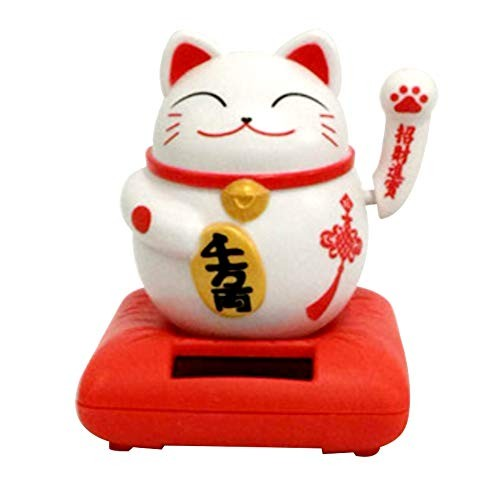 FAgdsyigao Cute Lucky Cat Solar Powered Flip Flap Pot Swing Toy for Home Desk Decor Car Dashboard Ornament Red