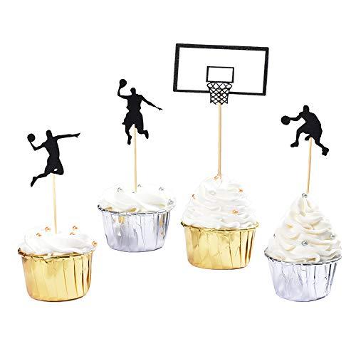 HOKPA Basketball Cupcake Toppers Fruit Food Dessert Picks Cake Topper for Boys Kids Birthday Sport Theme Party Baby Shower Christmas Decoration 24PCS