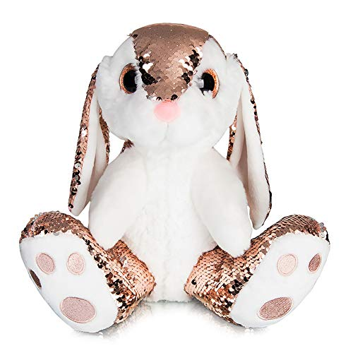 My OLi 8 Easter Bunny Sequin Rabbit Plush Stuffed Animal Champagne Flip for Babies Kids Boys Girls