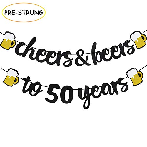 Joymee Cheers & Beers to 50 Years Black Glitter Banner for 50th Birthday Wedding Aniversary Party Supplies Decorations – PRESTRUNG