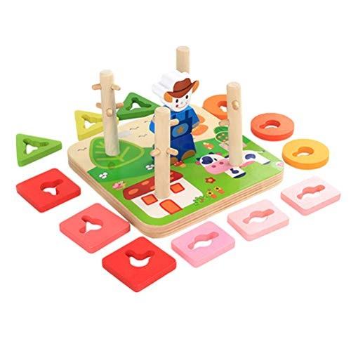 Toyvian Wooden Building Blocks Column Shape Sorter Toy Geometry Cognitive Educational