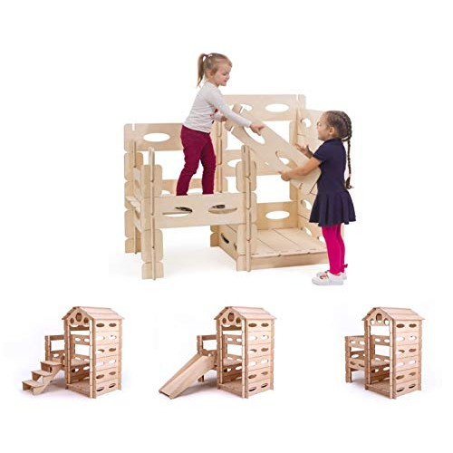 KateHaa Build & Play Wooden Playhouse Set for Kids 61-PCS Architectural Building kit Blocks Natural Toy
