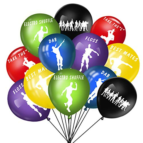 60PCS 6 Colors Gaming Party Latex Balloons – 12 inches Dance Happy Birthday Big Solid for Supplies Decoration and Favors With 1 PCS Loving-type Balloon Free Gift