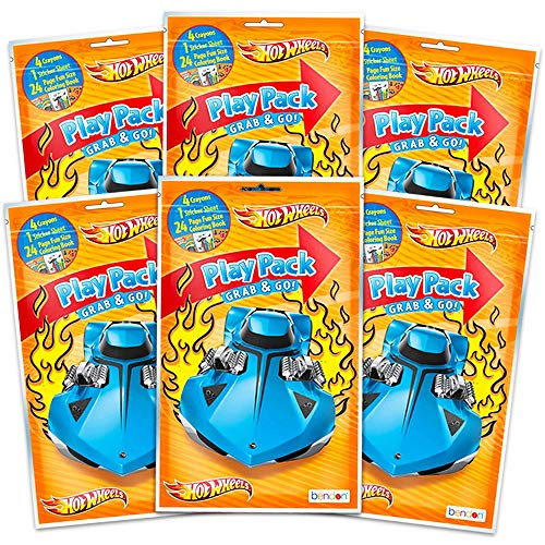 Hot Wheels Party Favors Pack ~ Bundle of 6 Play Packs Filled with Stickers Coloring Books Crayons Hot Supplies