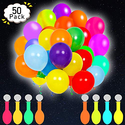 POKONBOY 50 Pack LED Light Up Balloons Glow in the Dark Party Supplies Neon for Birthday Wedding Festival Easter Decorations Mixed Color
