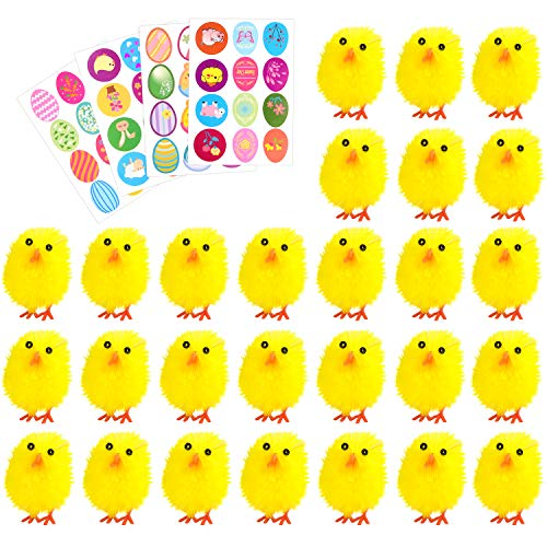 TUPARKA 36Pcs Easter Chenille Chicks Cute Fully Yellow Baby with 4 Sheet Stickers for Kids Egg Bonnet Decoration