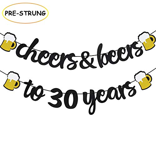 Joymee Cheers & Beers to 30 Years Black Glitter Banner for 30th Birthday Wedding Aniversary Party Supplies Decorations – PRESTRUNG Cheers Years