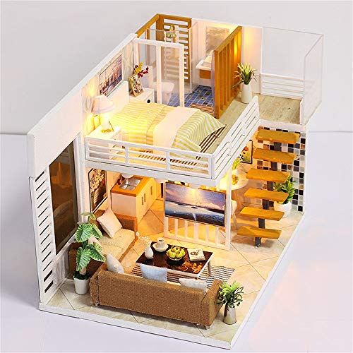 Miniature Dollhouse Kit Decorations with Lights and Furnitures 3D Wooden DIY House Furniture LED Puzzle Decorate Creative Gifts Best Birthdays for Boys Girls