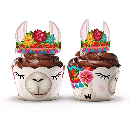 Llama Party Supplies Cupcake Toppers and Wrappers – Set of 24 Fiesta Llama