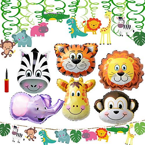 Supla VBS Safari Jungle Animals Hanging Decorations Green Party Forest Animal Theme Supplies for Baby Shower Kids 1st Birthday Nursery School Classroom Bedroom Bathroom Table Ceiling Decor