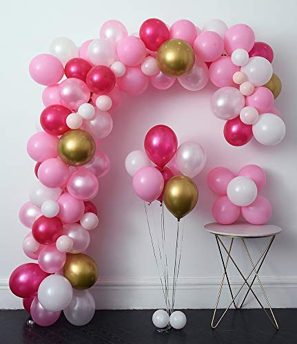 Pink Party Balloons 110 Pcs 12in Hot & Gold Metallic Pearlescent Arch &Decorating Strip+Balloon Tying Tools+Glue Dots+Flower Clips+Silver RibbonsWedding Baby Shower