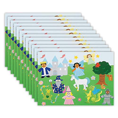 Kicko Make a Fairy Tale Sticker – Set of 12 Fantasy Stickers Scene for Birthday Treat Goody Bags School Activity Group Projects Room Decor Arts and Crafts