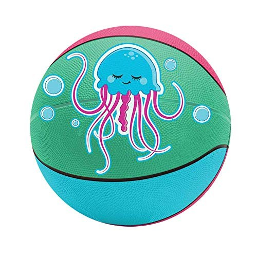 Kicko Jellyfish Basketball – 95 Inch Regular-Sized Multi-Color Ball with Jelly Fish Print –