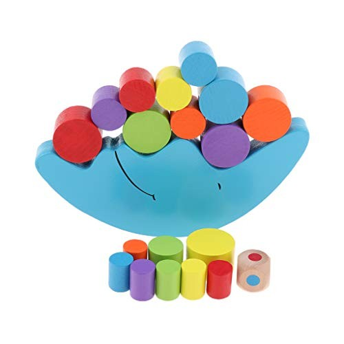 Flameer Moon Building Blocks Montessori Wooden Toy for Toddlers Children