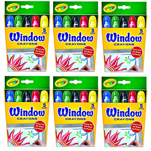Crayola Washable Window Crayons – 5-count 6 PACK