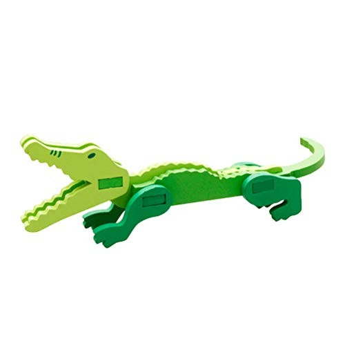 Toyvian Animal 3D Puzzle Wooden Building Block Take Apart Toys Assemble Crocodile Toy Jigsaw DIY Models Figures Educational for Kids Adults