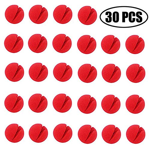 TIHOOD 30PCS 2×2 Red Circus Clown Nose Halloween Christmas Costume Party