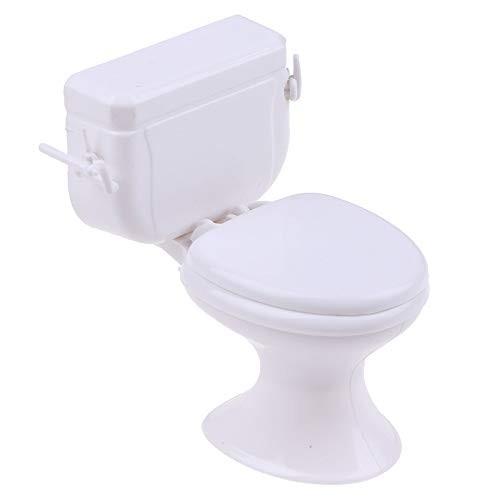 Hosfairy 1Pcs Mini White Toilet Cover Toilet Toys   Toilet Cake Decor Doll Accessories