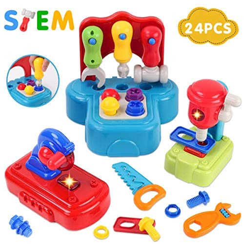 GILOBABY Kids Learning Tool Set with Lights and Sounds Pretend Playset Construction STEM Building Toys for Toddler Age 2+