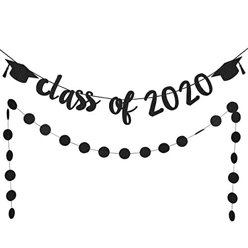 Black Glittery Class Of 2020 Banner and Circle Dots Garland- Graduation Party Decorations or Grad Decoration Supplies