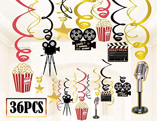 36Ct Movie Night Party Decorations Hanging Swirls – Hollywood Theater Themed Bridal Shower Birthday Supplies Film Backdrop