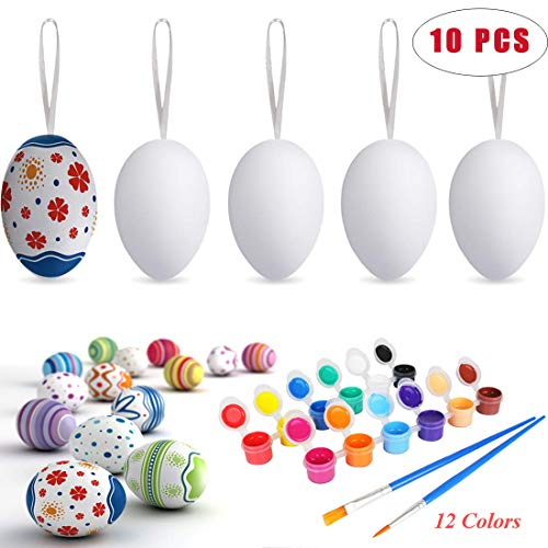 Easter White Plastic Eggs 10 Pcs Hanging with Rope Blank for DIY Decor Egg 12 Colors Painting Board