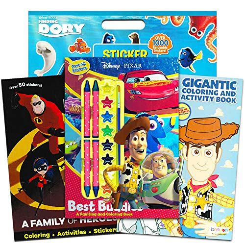 Disney Pixar Toy Story Coloring And Activity Book Super Set Pack Of 3 Books With Paint Crayons Over 1000 Stickers Featuring Incredibles Finding Nemo More Toy Party Pack Educational Toys Planet