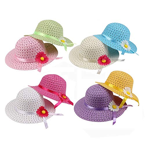 Girls Sunflower Straw Hats Tea Party Set 8 Pcs Per with Assorted Colors for Kids 2-6