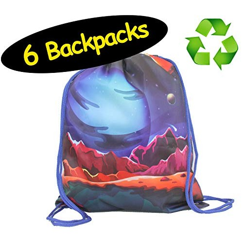 Space Party Favor Drawstring Backpacks Made from 100% Recycled RPET Science Galaxy Bags for Sleepover Birthday Sports 6 Pack 12 x 14 inches