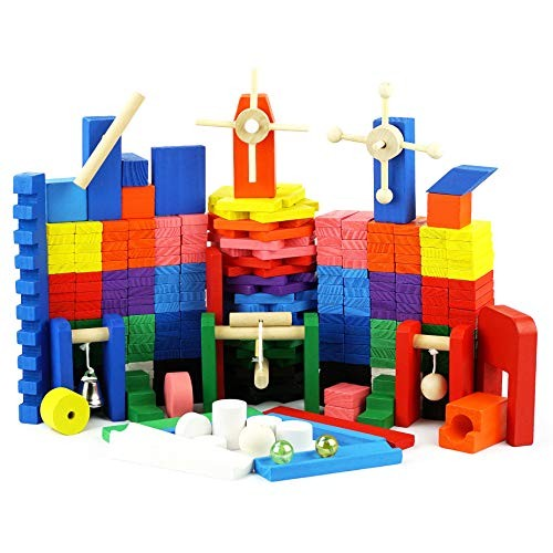 Genius Art 360 Pieces Kids Dominoes + 42 Wooden Blocks to Build Marble Run Builiding and Stacking Toys