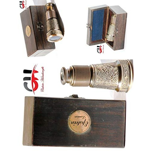 CH with Device Collectible Vintage Monocular Brass Binocular Antique Nautical Pirate Bincocular Antique Pocket Spyglass Comes with Wood Case