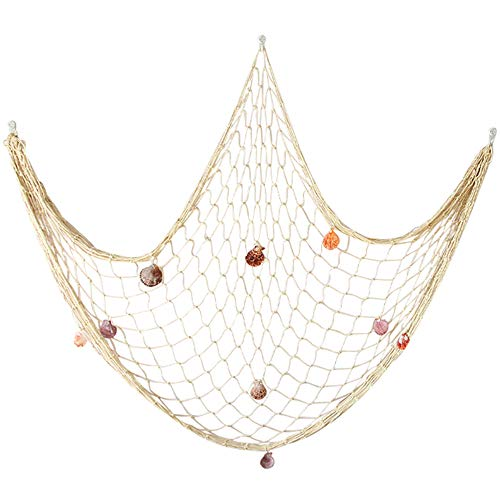 Natural Fishing Net Decor with Shells 79 Inch Beach Theme for Party Home Bedroom Wall Hanging Fish Decorations