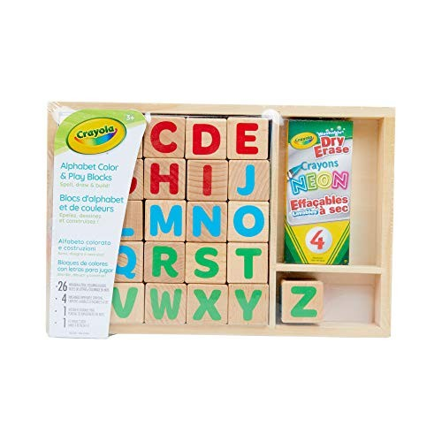 Crayola Wooden Alphabet Blocks with Dry Erase Surface Letter Gift for Toddlers 32Piece 04-0147