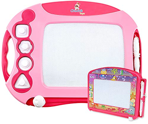 CHUCHIK Toys Magnetic Drawing Board for Kids and Toddlers Large 157 Inch Doodle Writing Pad Comes with a 4-Color Travel Size Sketch 1 – 4 Year Old Girls Pink