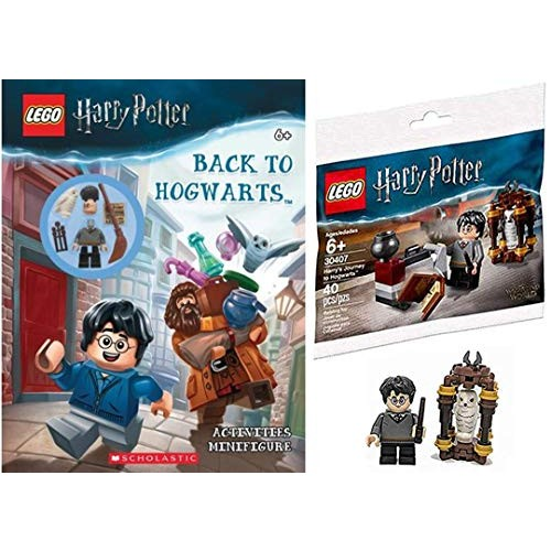 LEGO Back to Magical Wizards Harry Potter Mini Figure Brick Set Journey Hogwarts Building with Hedwig + Bundled Activity Book buildable Minifigure