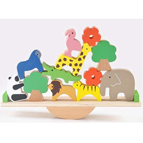 Flameer Cute Forest Animal Balance Toy Wooden Building Blocks Kids Educational