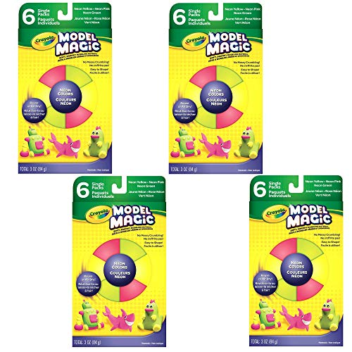 Crayola Model Magic Neon Colors Pink Green Yellow 6 Count 05 oz Packs No-Mess Soft Squishy Lightweight Modeling Material for Kids 4 & Up Easy to Paint and Decorate Air Dries Smooth Pack