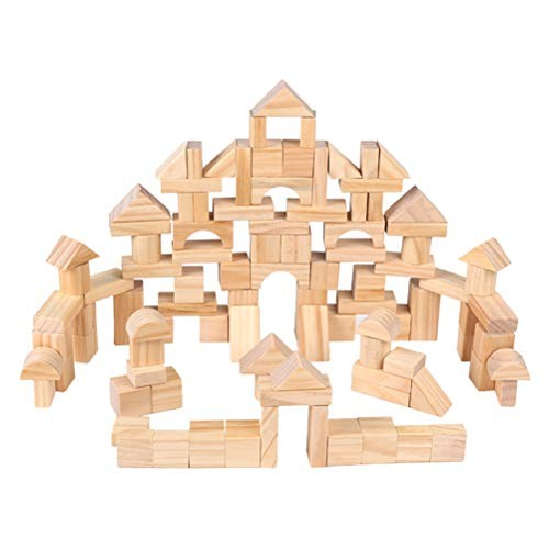 100 Pcs Kids Wooden Building Block Sets Castle Blocks Stacking Developmental Toys for Toddlers Children Early Education