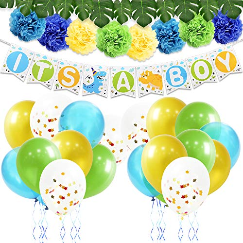 WERNNSAI Dinosaur Party Decoration Kit – Baby Shower Supplies for Boys Including It's A Boy Banner Latex Balloons Paper Pom Poms Ribbons Artificial Monstera Leaves 43PCS