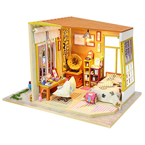 Yamart Wooden DIY Miniature House -Furniture LED Puzzle Decorate Creative Gifts-Best Birthday for Boys and Girls
