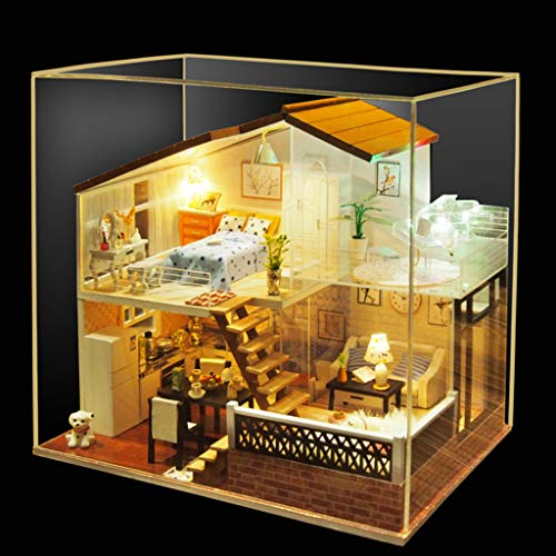 Onegirl Dollhouse Miniature with Furniture Wooden DIY Kit Plus Dust Proof CoverCreative Room for Decorate Creative Gift Best Birthday Gifts Kids A