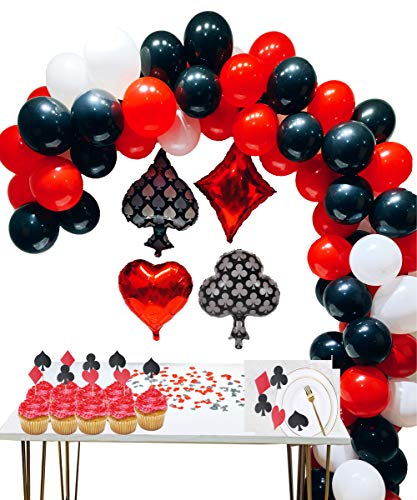 Casino Party Decoration Supplies Set BalloonsBlack RedWhite Latex Balloon with Confetti for Theme PartyLas Vegas Themed PartiesCasino Night Poker Events