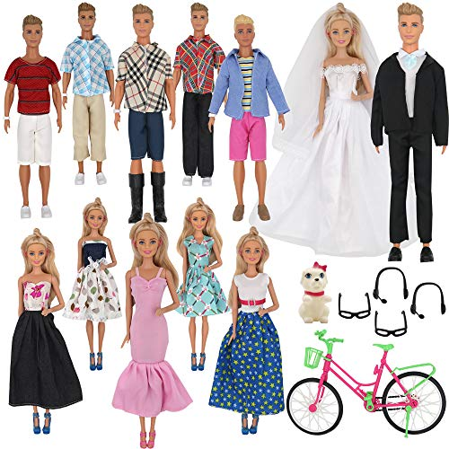 ZTWEDEN 33Pcs Doll Clothes and Accessories for 12 Inch Boy Girl Includes 20 Wear Shirt Jeans Suit Wedding Dresses Glasses Earphones Dog Bike 12''
