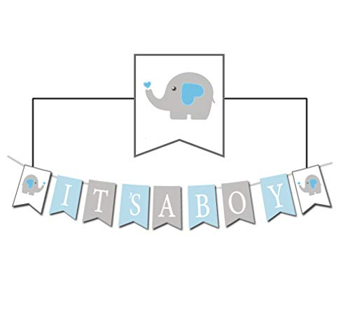 Baby Elephant It's A BOY Banner for Shower