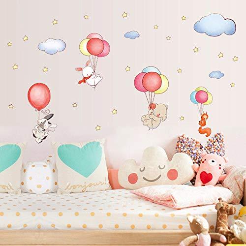 HHxx9 Cartoon DIY Animal Balloons Cloud Wall Stickers Elephant Rabbit Fox Stars Room Decor Baby Bedroom Decorate Children Decals 200x116Cm