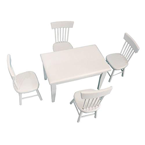 DIGOOD 5pcs 1 12 Dollhouse Miniature Dining Table Chair Wooden Furniture Set White